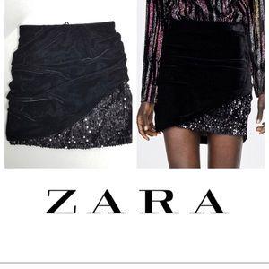 Zara Sequined Velvet mini skirt